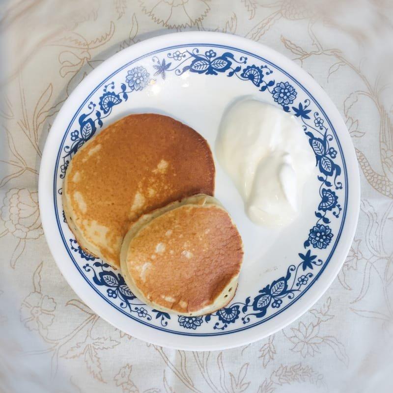 Homemade pancakes with yogurt