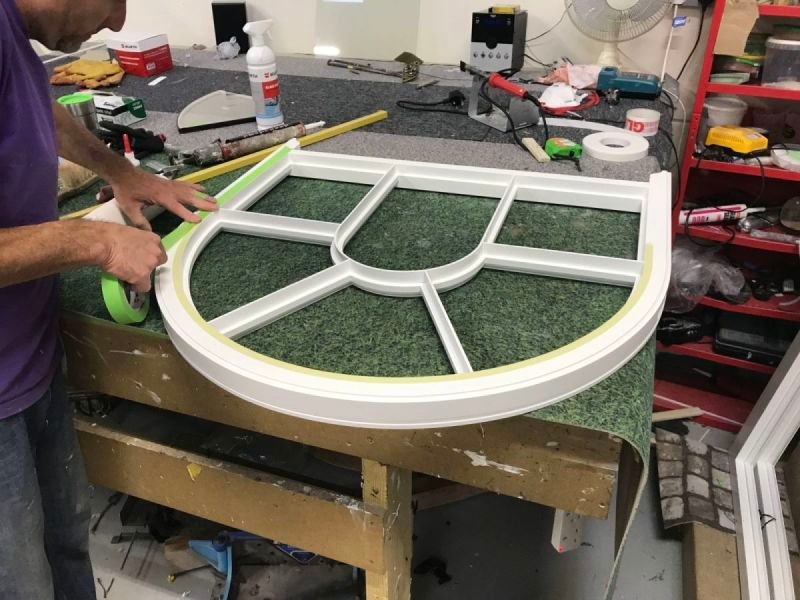 Bespoke Curved Sash Window in production
