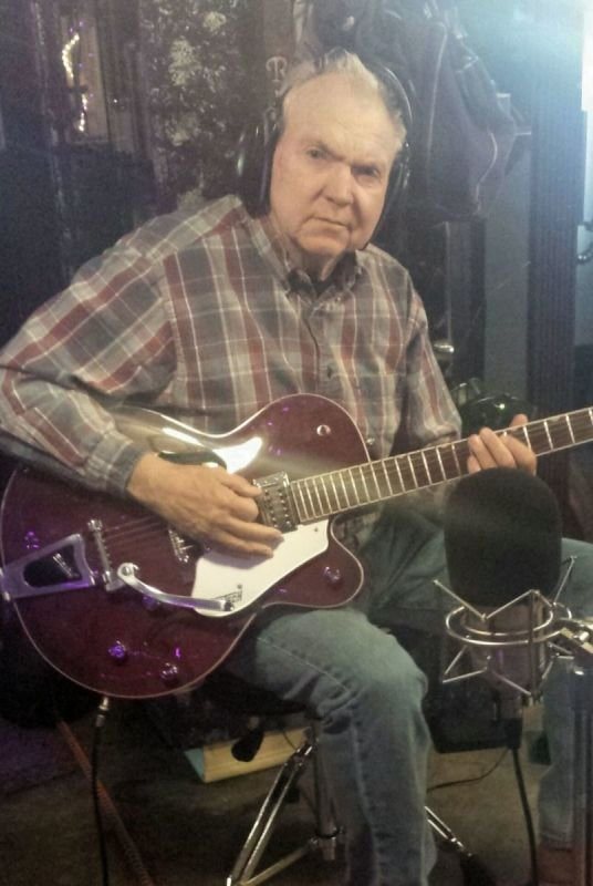 Tom with his trusty Gretsch laying tracks