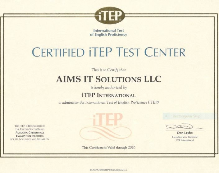 Become Certified Itep Test Center Aims It Solutions It Services