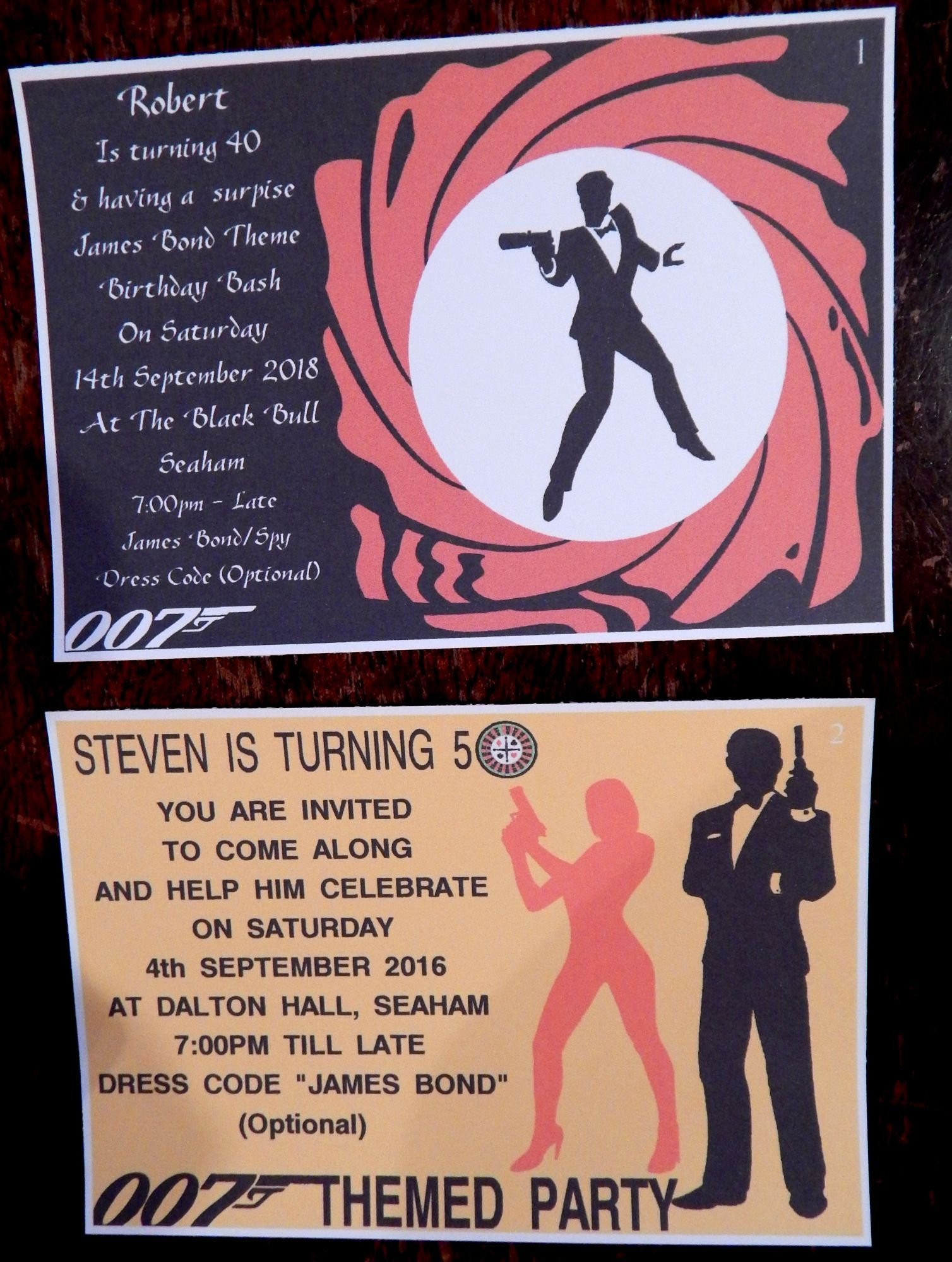100 x Personalised James Bond 007 Themed Birthday Invitations Or Any