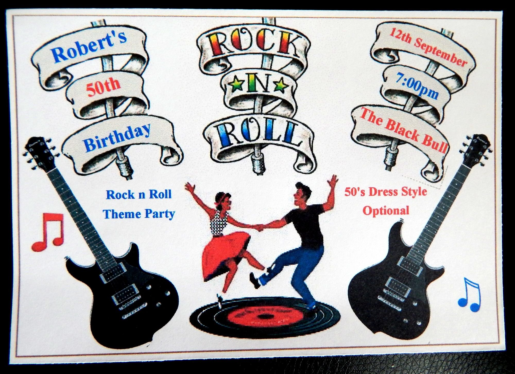 50 x Personalised Rock n Roll Themed Birthday Invitations Or An ...