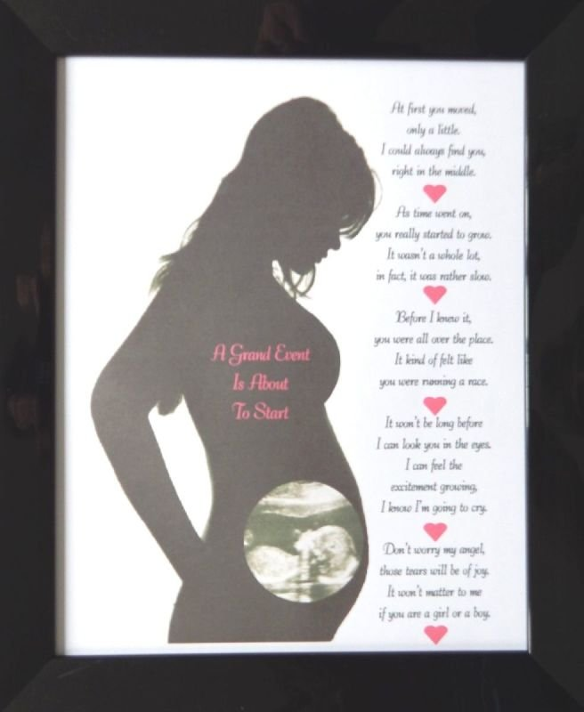 Personalised Pregnant Lady With Baby Scan And Poem \