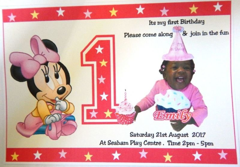 Beautiful Personalised Boys Or Girls Mickey Minnie Mouse 1st 2nd Birthday Invitation For Your Childs Party
