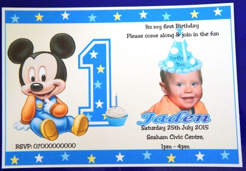 40 x Boy's or Girls 1st -or 2nd etc Personalised Mickey & Minney Mouse Birthday Invitations With Photograph Design (C) With Free Envelopes