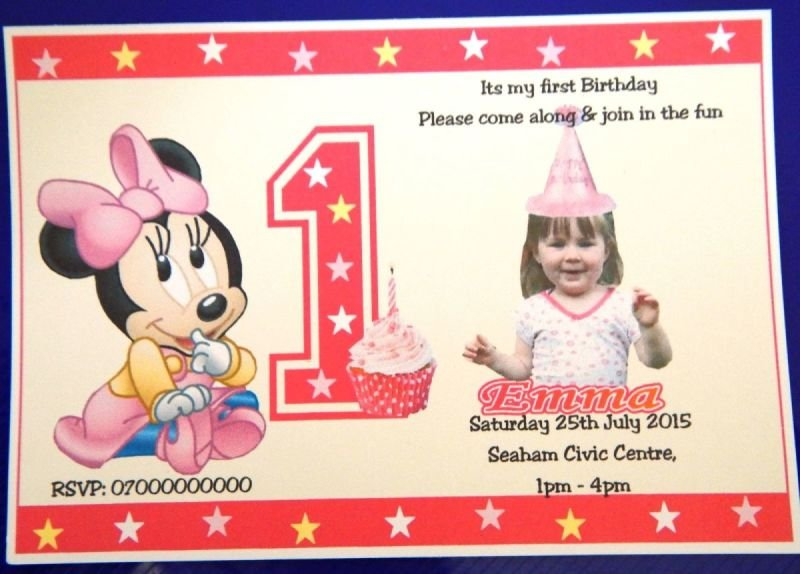 50 x Boy's or Girls 1st -or 2nd etc Personalised Mickey & Minney Mouse Birthday Invitations With Photograph Design (C) With Free Envelopes
