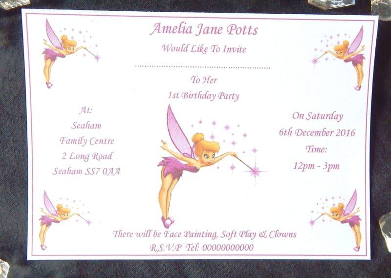 32 x personalised tinkerbell birthday invitations design b with 32 x personalised tinkerbell birthday invitations design b with free envelopes filmwisefo