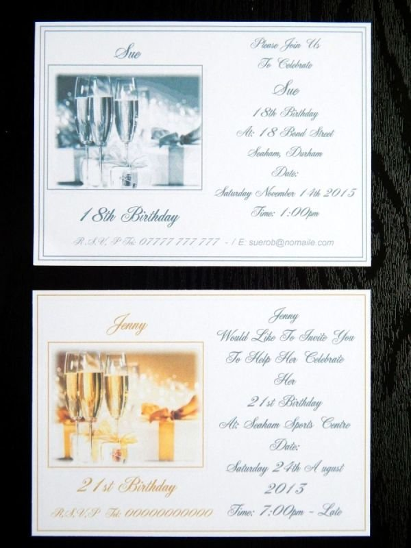 100 X Personalised Silver Medium Grey Or Gold 18th 21st Birthday Invitations Design A With Free Envelopes