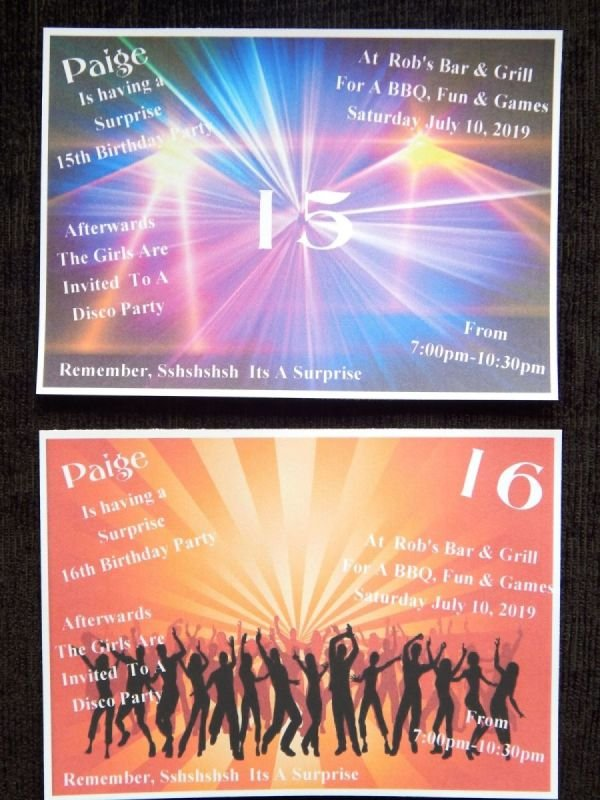 50 X Personalised Disco Teenage 13th 14th 15th 16th 17th Birthday Invitations 2 Designs To Choose From Design TNG2 With Free Envelopes