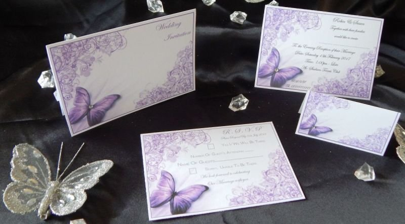 75 X Personalised Purple Butterfly Wedding Invitations Or