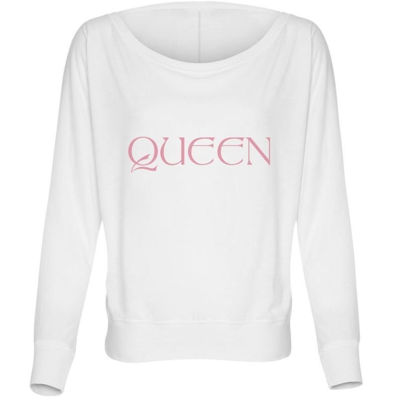 WHITE/PINK LADIES FLOWY LONG SLEEVE OFF THE SHOULDER