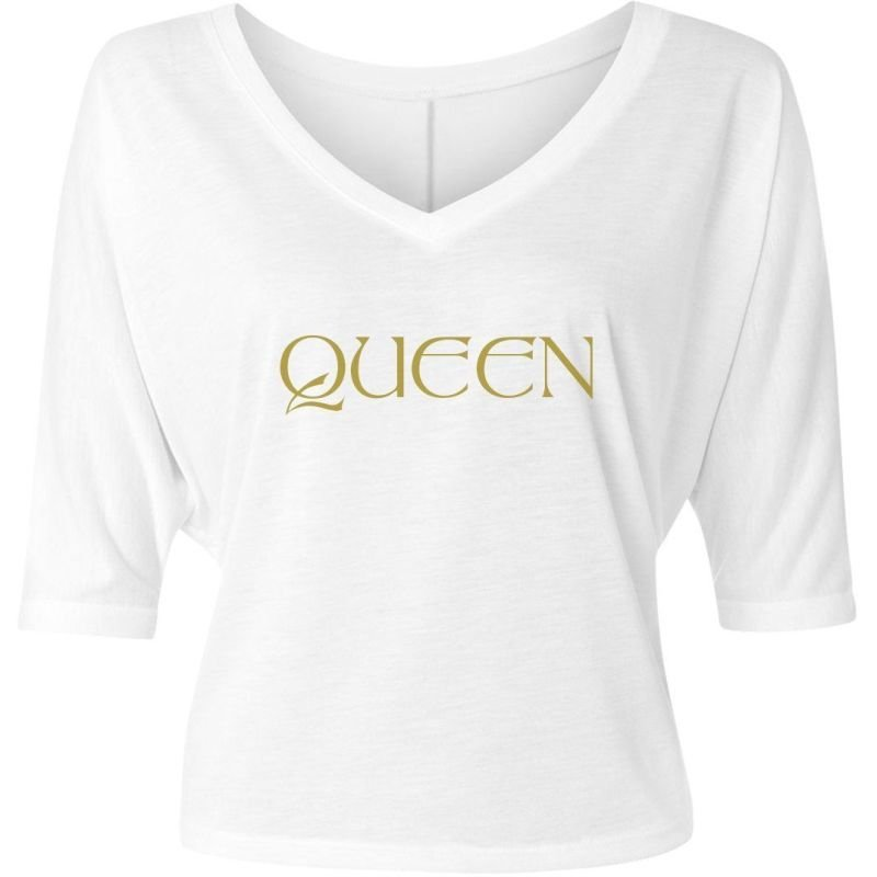 WHITE/GOLD LADIES FLOWY HALF-SLEEVE V-NECK TEE