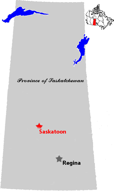 Map of Saskatchewan showing the Cities of Saskatoon and Regina