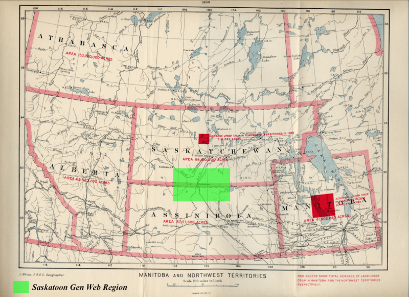 Saskatoon Gen Web Region in green NWT 1900 map