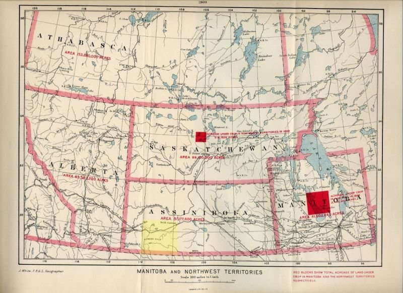 Swift Current Gen Web Region is coloured in Yellow 1900 NWT map