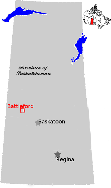 Saskatchewan Provincial Map showing Battleford
