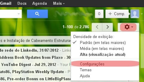 Gmail settings (Photo: playback / Flávio Renato)