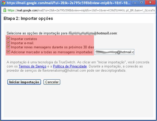 Import options in Gmail (Photo: reproduction / Flávio Renato)