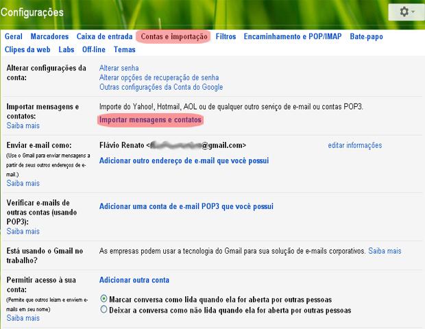 Gmail Account and Import Gmail (Photo: reproduction / Flávio Renato)