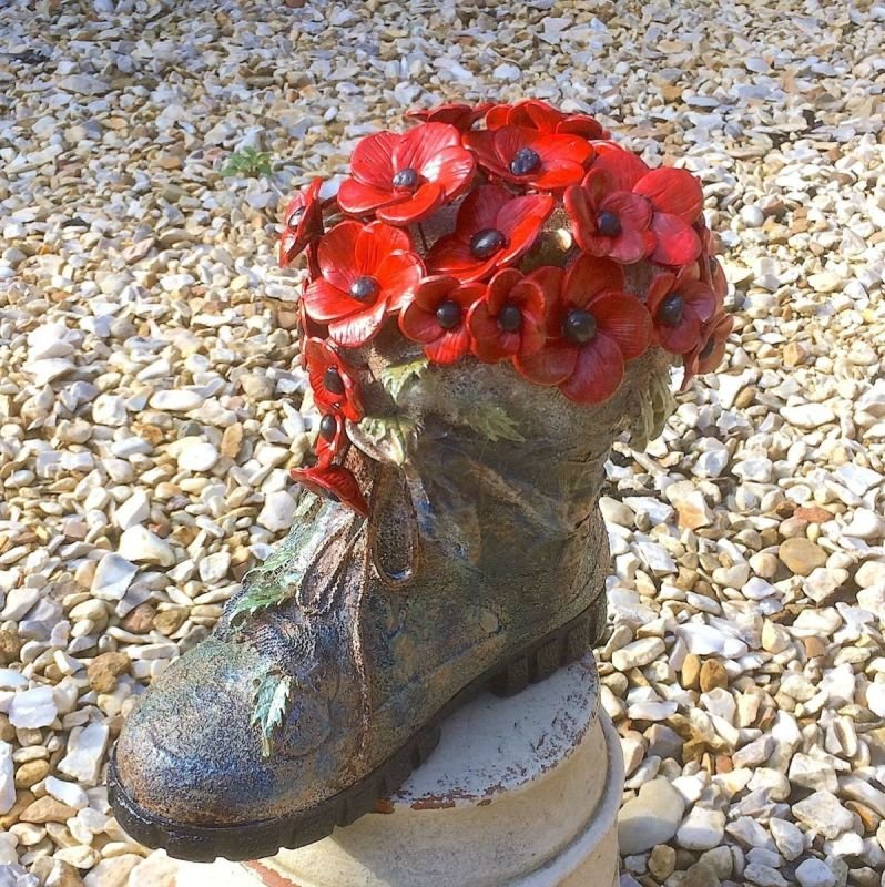 Poppy or Vintage Rose Boot Powertex and mixed media workshop