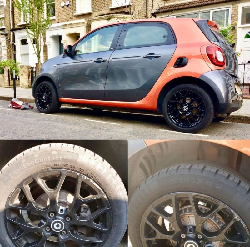 Smart ForFour Gloss Black Refurb x4 | Alloywheelwelding.co.uk