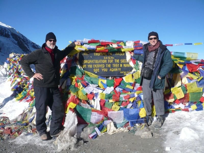 MYSELF AND JONATHAN TROSS AT THE TOP OF THE THORONG LA PASS.