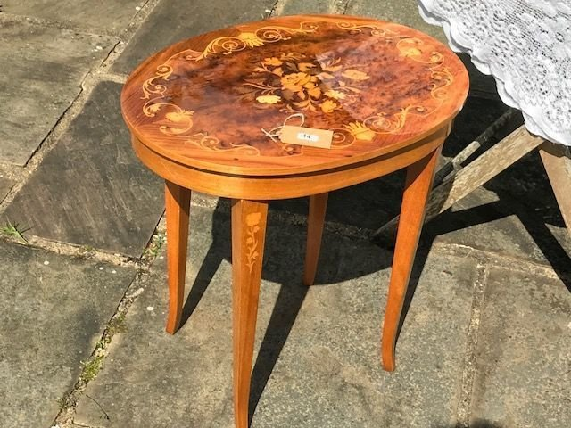 Lot 14 - Musical Sewing Box Table - £12 to £15