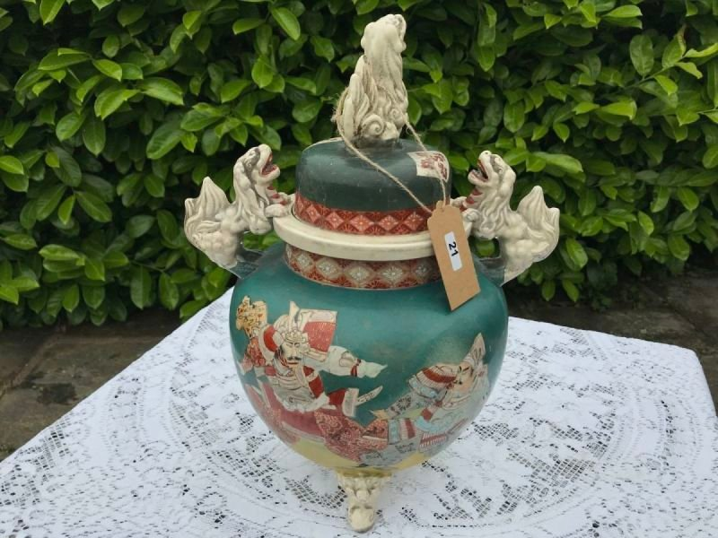 Lot 21 - Chinese or Japanese Lidded Urn Jar - £150 to £250