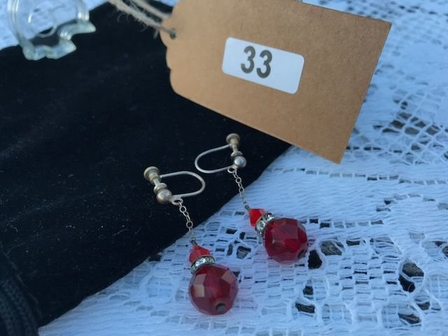 Lot 33 - Pair of 1920's Red Stone Earrings - £80 to £120