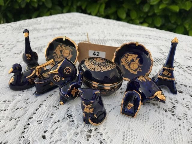 Lot 42 - Limoges Blue & Gold Miniatures - £20 to £30
