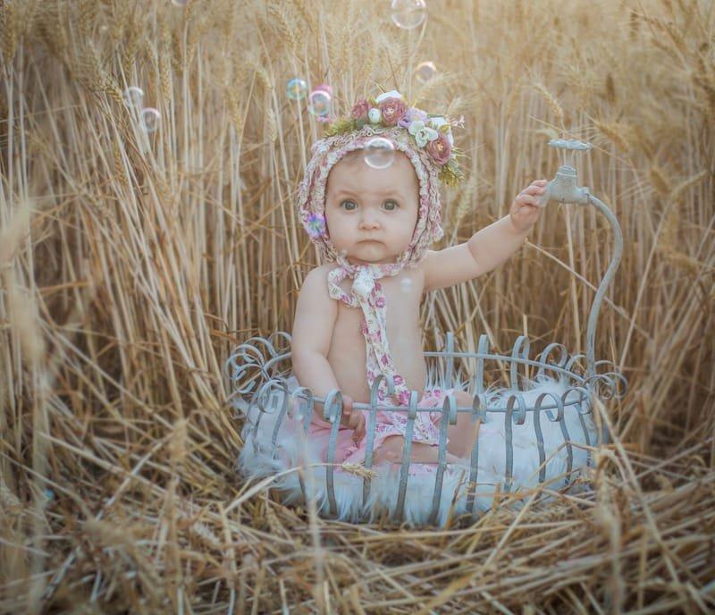 bébé 9mois baignoire vintage
