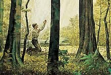 Joseph Smith kneeling in the sacred grove