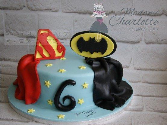 τουρτα γενεθλίων παιδική με ζαχαροπαστα superman batman, ζαχαροπλαστείο καλαμάτα madamecharlotte.gr, birthday party cakes 2d 3d confectionery patisserie kalamata