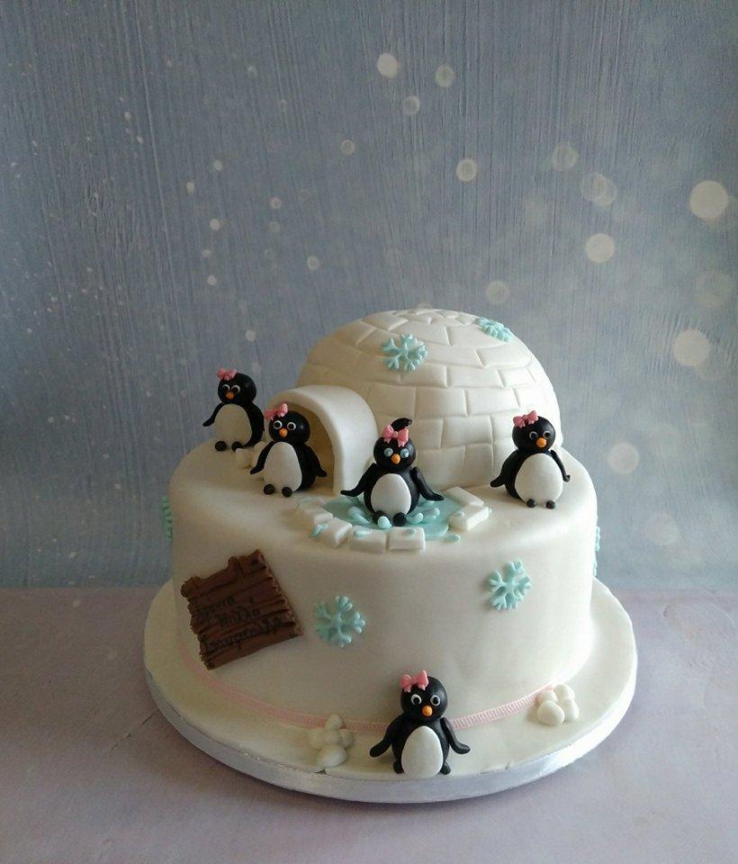 θεματική τούρτα γενεθλιων από ζαχαρόπαστα πινγκουίνοι Ζαχαροπλαστείο καλαμάτα madamecharlotte.gr, theme party birthday cakes 2d 3d kalamata