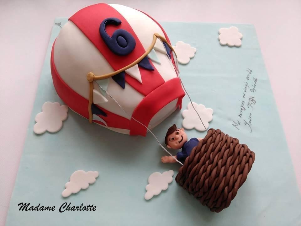τούρτα γενεθλιων παιδικη από ζαχαρόπαστα αερόστατο air balloon ζαχαροπλαστείο καλαμάτα madame charlotte, birthday cakes kalamata