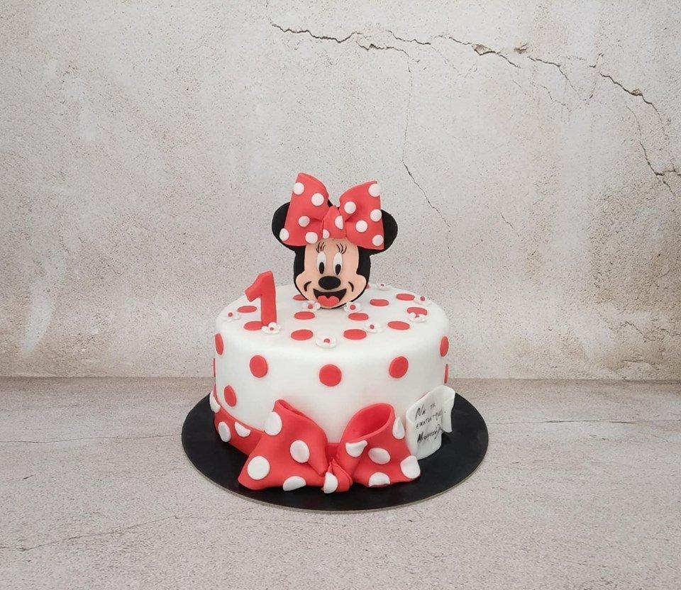 τούρτα γενεθλίων απο ζαχαρόπαστα minnie mouse ζαχαροπλαστεια καλαματας madame charlotte, birthday cakes kalamata