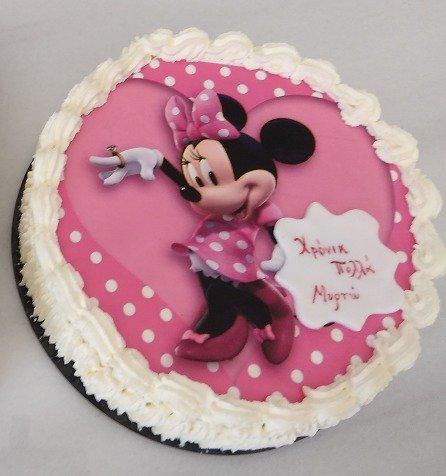 τούρτα από ζαχαρόπαστα minnie pink cake Ζαχαροπλαστείο καλαμάτα madamecharlotte.gr, birthday party cakes 2d 3d confectionery patisserie kalamata