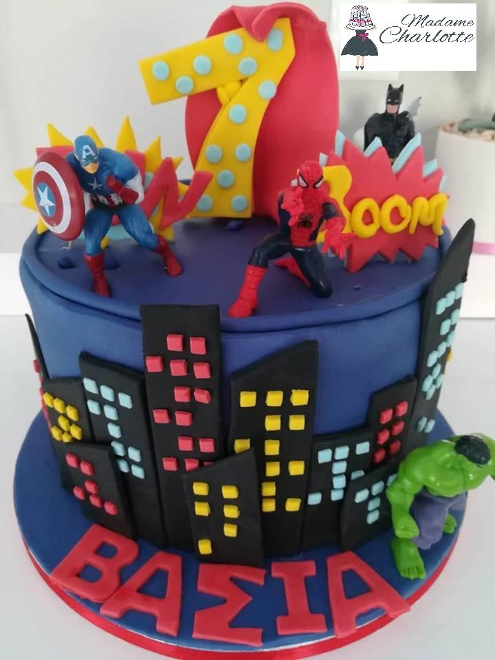 τούρτα από ζαχαρόπαστα superheroes superman batman hulk captain america, Ζαχαροπλαστείο καλαμάτα madamecharlotte.gr, τούρτες γεννεθλίων γάμου βάπτησης παιδικές θεματικές birthday theme party cake 2d 3d confectionery patisserie kalamata