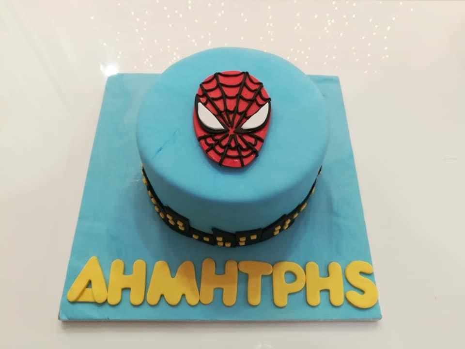 τούρτα από ζαχαρόπαστα spiderman, Ζαχαροπλαστείο καλαμάτα madame charlotte, τούρτες γεννεθλίων γάμου βάπτησης παιδικές θεματικές birthday theme party cake 2d 3d confectionery patisserie kalamata