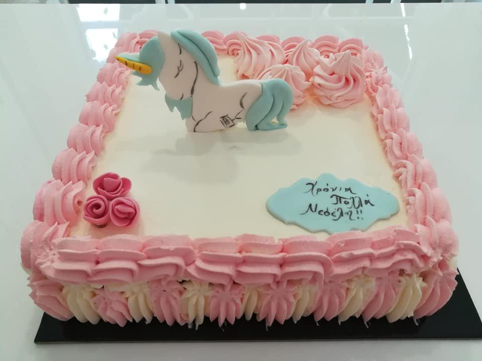 τούρτα από ζαχαρόπαστα μονόκερος, Ζαχαροπλαστείο καλαμάτα madame charlotte, τούρτες γεννεθλίων γάμου βάπτησης παιδικές θεματικές birthday theme party cake 2d 3d confectionery patisserie kalamata