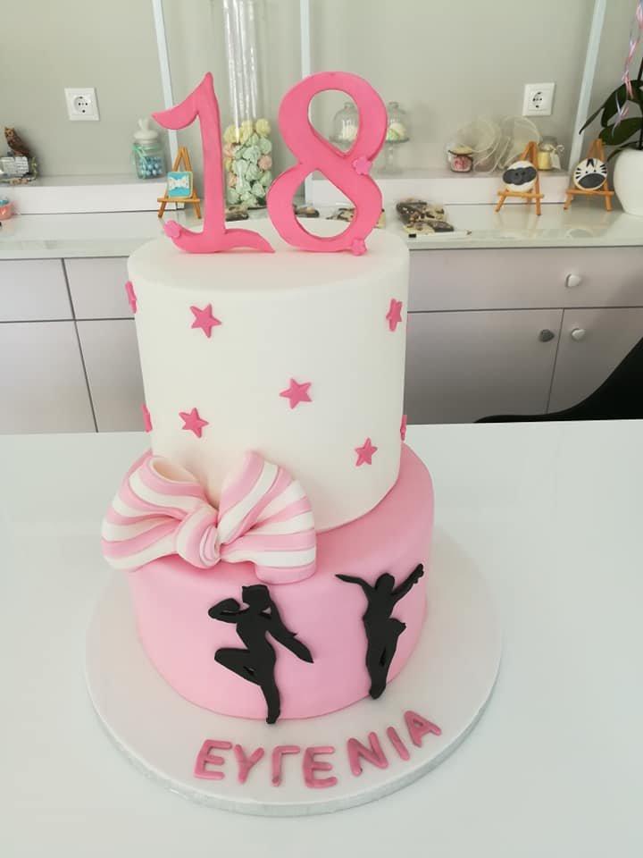 τούρτα από ζαχαρόπαστα sweet 18 χορός χορευτρια, Ζαχαροπλαστείο καλαμάτα madame charlotte, τουρτες παρτι παιδικες γενεθλιων madamecharlotte.gr birthday cakes kalamata