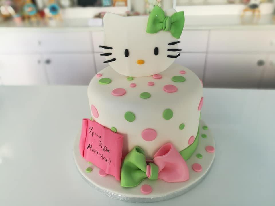 τούρτα απο ζαχαρόπαστα kitty, Ζαχαροπλαστείο καλαμάτα madame charlotte, τούρτες γεννεθλίων γάμου βάπτησης παιδικές θεματικές birthday theme party cake 2d 3d confectionery patisserie kalamata