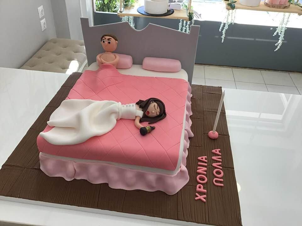τούρτα γάμου από ζαχαρόπαστα μεθυσμένη νύφη γαμπρος κρεβατι, ζαχαροπλαστεία καλαμάτας madamecharlotte.gr, birthday theme party cakes 2d 3d confectionery patisserie kalamata