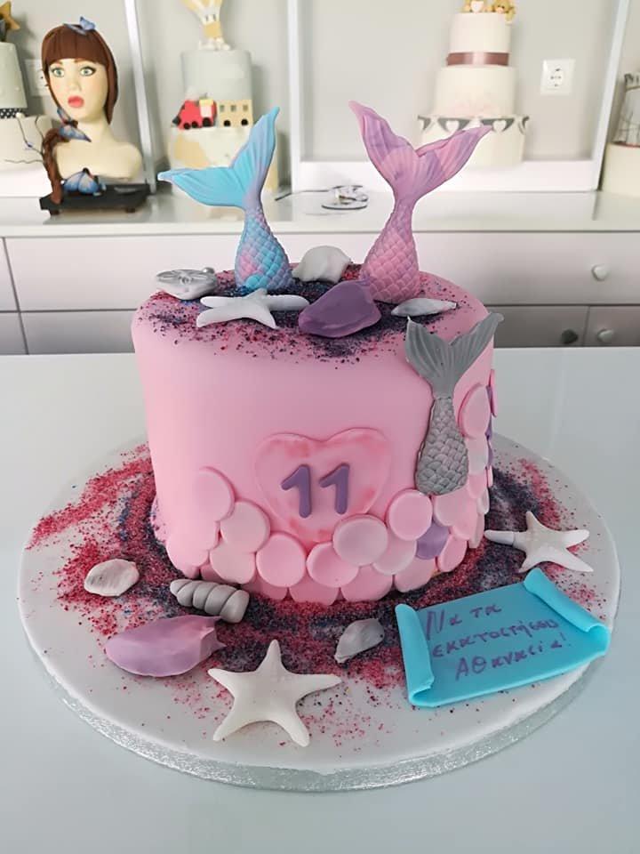 τούρτα από ζαχαρόπαστα γοργόνα θάλασσα αστεριας, Ζαχαροπλαστείο καλαμάτα madame charlotte, τουρτες παρτι παιδικες γενεθλιων madamecharlotte.gr birthday cakes patisserie confectionery kalamata