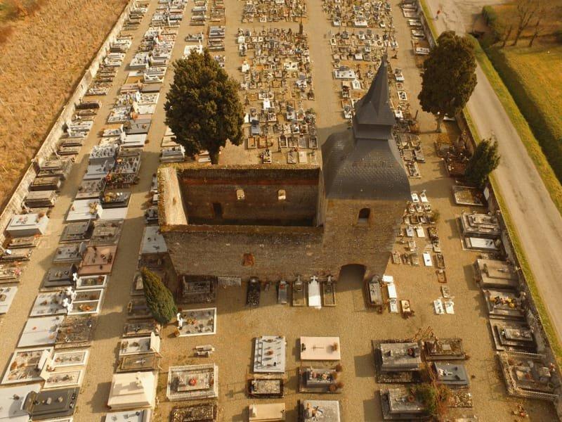 Suivi d'avancement de chantier de rénovation de la chapelle du cimetière de Riscle.