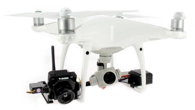 Le drone DJI Phantom 4 Pro équipé de la nacelle thermique et de la caméra Flir vue pro R.