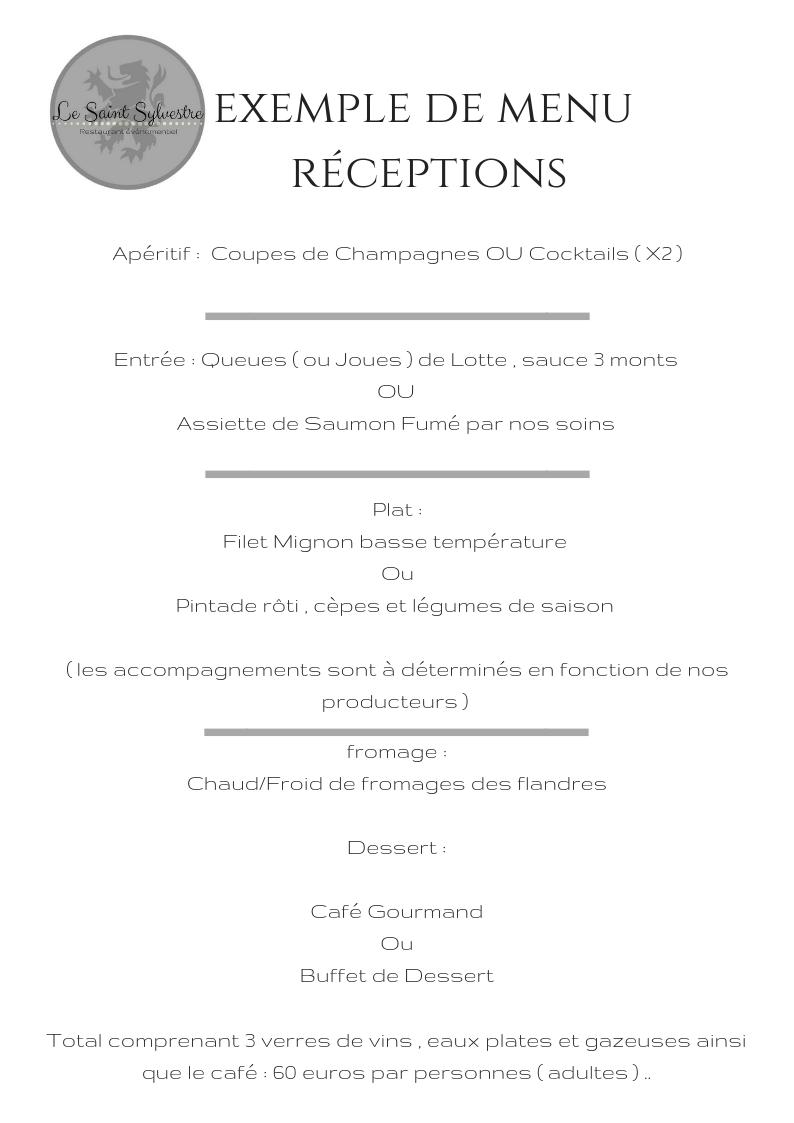 Exemple de menu réceptions