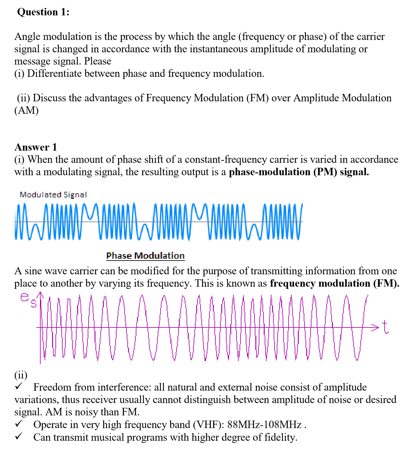 advantages of phase modulation