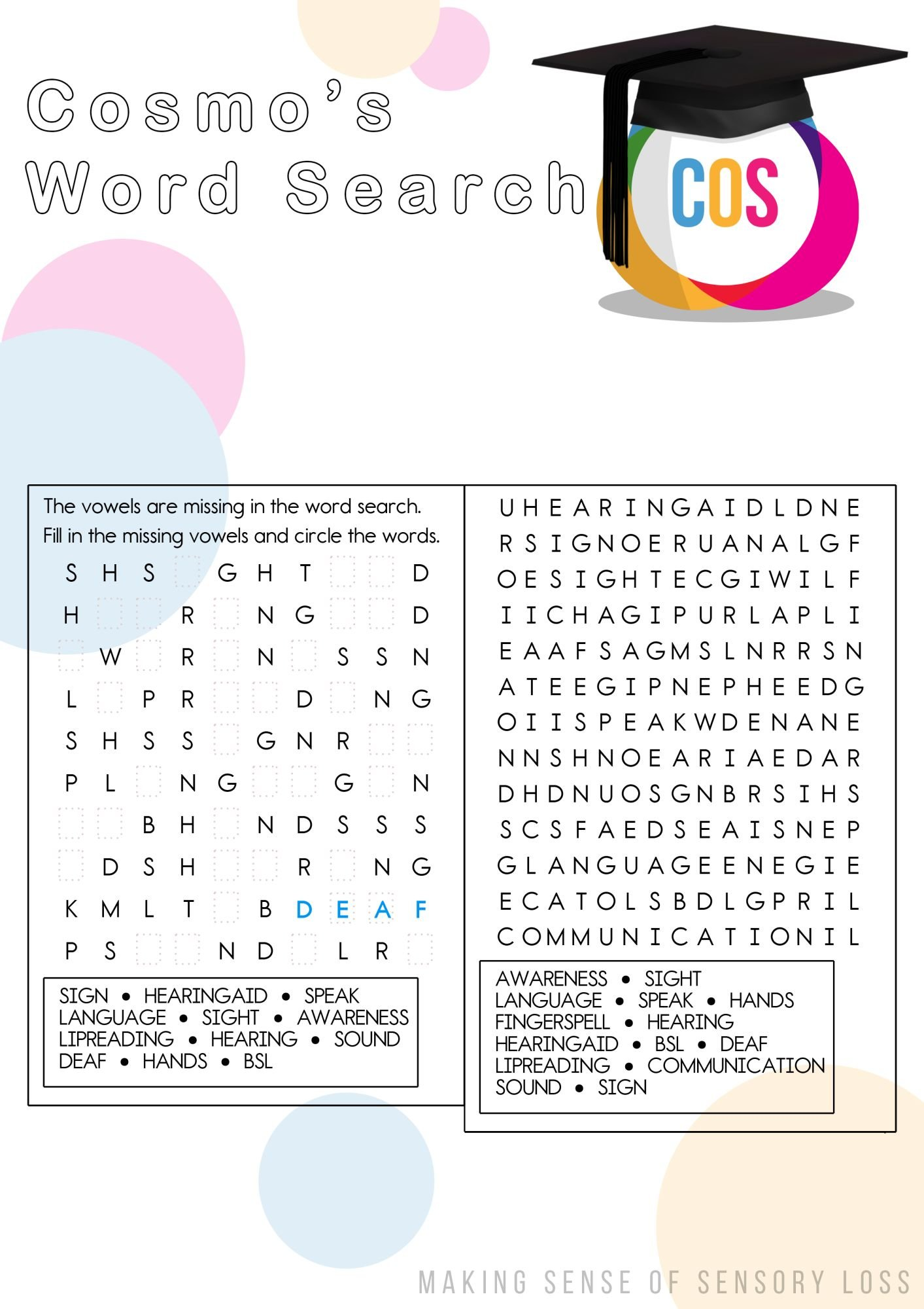 Cosmo's Word Searches - Centre of Sign Sight Sound