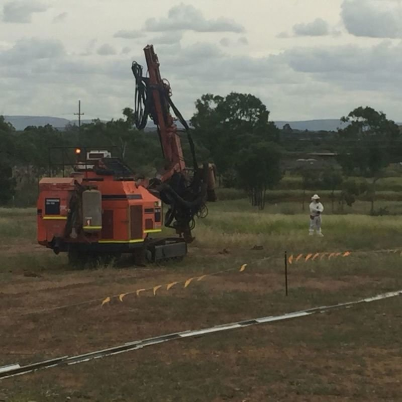 Solar Farm Pre Drilling For Piling.